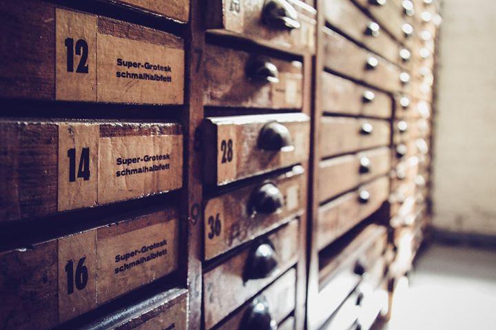Schriftenkabinett, Lettertypen, Handsatz, Bleisatz, Ornamente, Holzlettern
