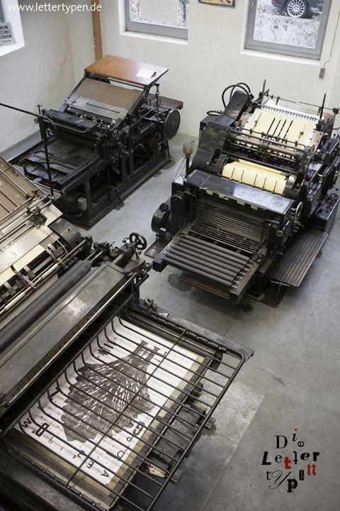 Schelter & Giesecke HA2 (1925), Original Heidelberger Zylinder (1954), Johannisberger Schnellpresse (1924); Lettertypen, Letterpress, Buchdruck, Berlin