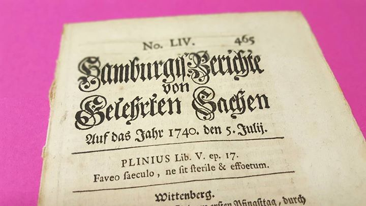 Berichte von Gelehrten Sachen aus Hamburg, 5. Juli 1740