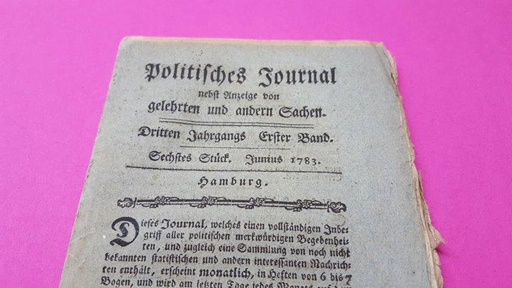 """""""Politisches Journal nebst Anzeige von gelehrten und andern Sachen"""". Hamburg, Juni 1783"""