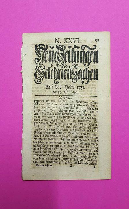 """""""Neue Zeitungen von Gelehrten Sachen"""" aus Leipzig, 1. April 1751"""
