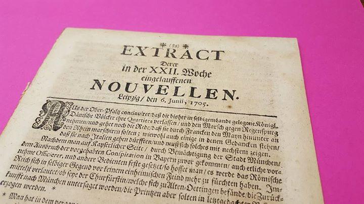 """EXTRACT Derer in der XXII. Woche eingelauffenen Nouvellen"""", Leipzig, 6. Juni 1705"""