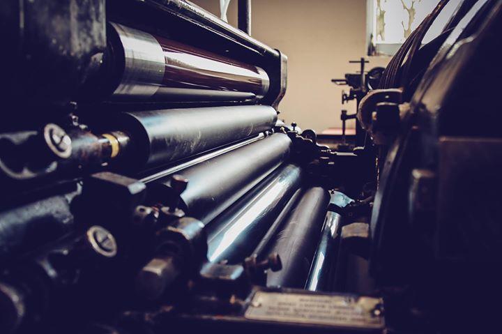 Walzenstuhl des Original Heidelberger Zylinder OHZ S 54 x 72 cm, bereit zum Drucken, vor dem Farbein...